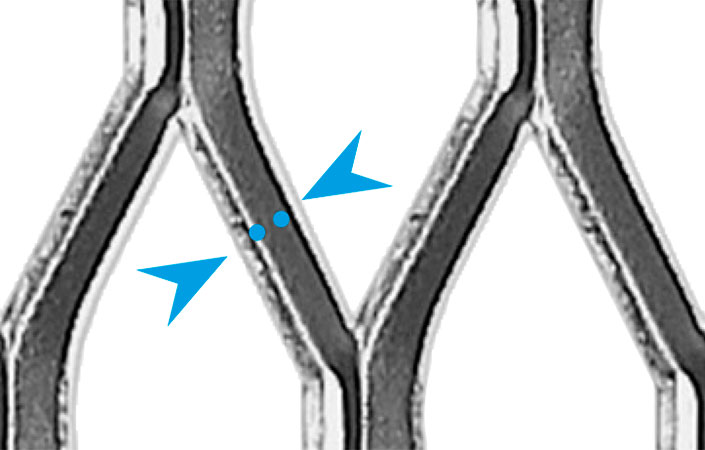 The area marked in the image shows the bridge width of an expanded metal.